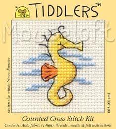 Mouseloft Yellow Seahorse Tiddlers cross stitch kit